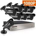 ZOSI HD-TVI 8CH 1080 P DVR комплект 2.0MP система камер безопасности 8*1080 P день ночное видение CCTV Домашняя безопасность без HDD