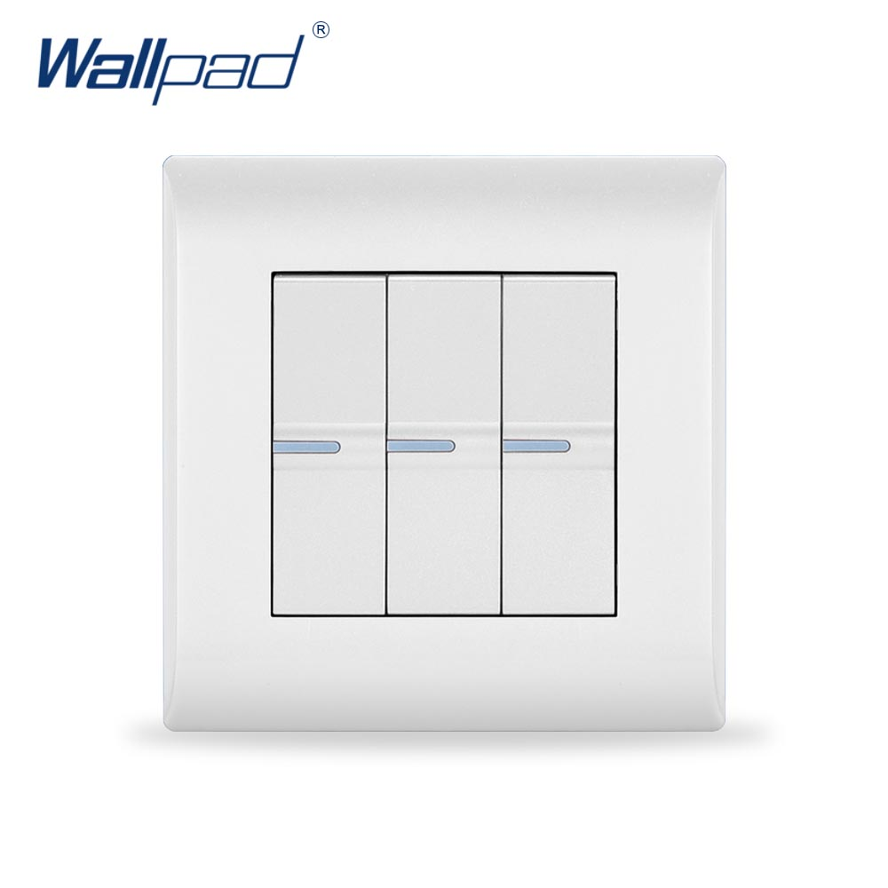 2018 New Arrival 3 Gang 2 Way Wallpad Luxury White Wall Light Switch 16A AC110~250V PC Panel EU/UK Standard 3 gang 2 way wallpad smart home eu uk standard silver metal frame 3 gang 2 way push button lighting staircase switch 110v 220v