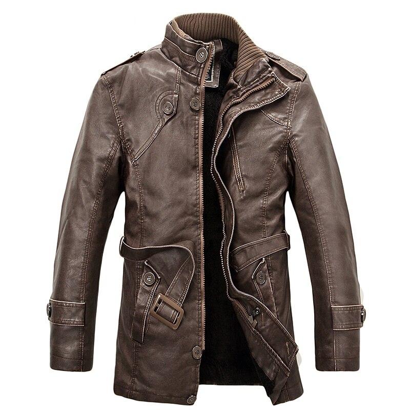 Hombres de invierno larga chaqueta de abrigo de cuero de LA PU de gamuza forro cálido mens biker faux leather trench cazadora prendas de vestir exteriores ocasional L-4XL más