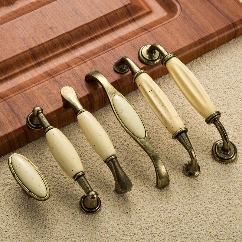 Buy 5pcs beige ceramic door handles antique furniture knobs and handles for - Maniglie sportelli cucina ...
