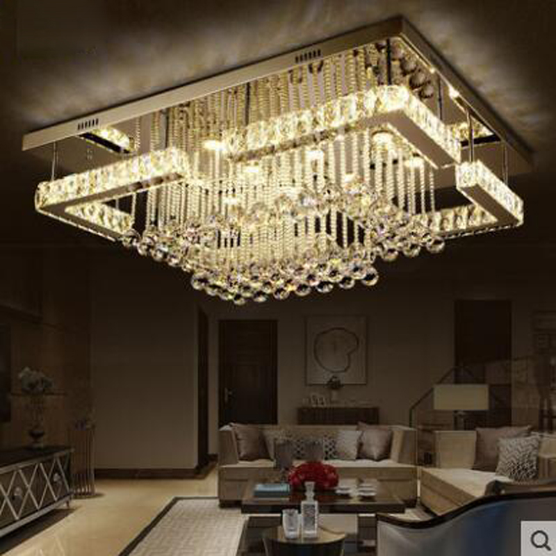 Rectangular living room lamp led crystal lamp ceiling lamp modern minimalist atmospheric bedroom dining room lamps led lighting creative round ceiling led lamp bedroom lamp modern minimalist living room dining lamps
