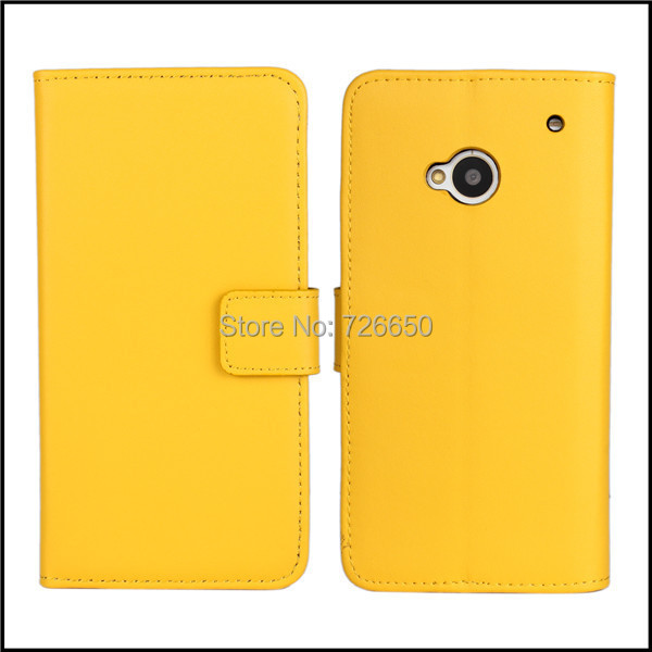 Genuine Leather Case Cover For HTC One M7 Wallet Style with Stand TV Function & Card Slots + Free Screen Protector