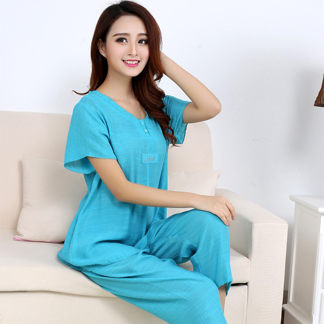 c75f933f9 Womens cotton Pajamas Sets Spring Summer Female Lace Embroidered Satin Pyjamas  Sleepwear Loungewear XL-3XL