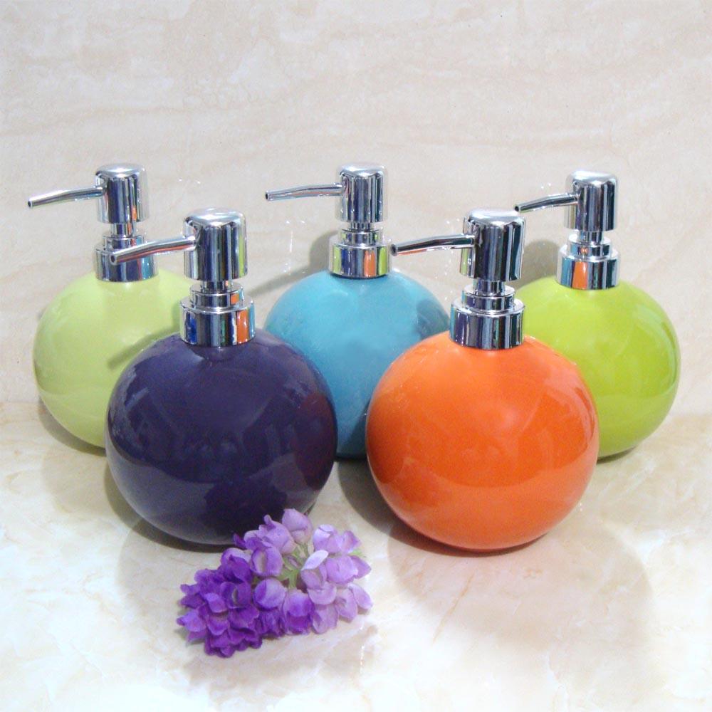 ceramic lotion bottle hand sanitizer bottle circle ball multicolor bathroom set black orange green