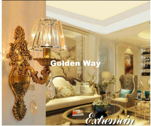 Us 95 65 Free Shipping Crystal Wall Lamp Decor Bronze Sconce Interior Lights Decorative E14 Sconces For Bedroom Lighting In Led