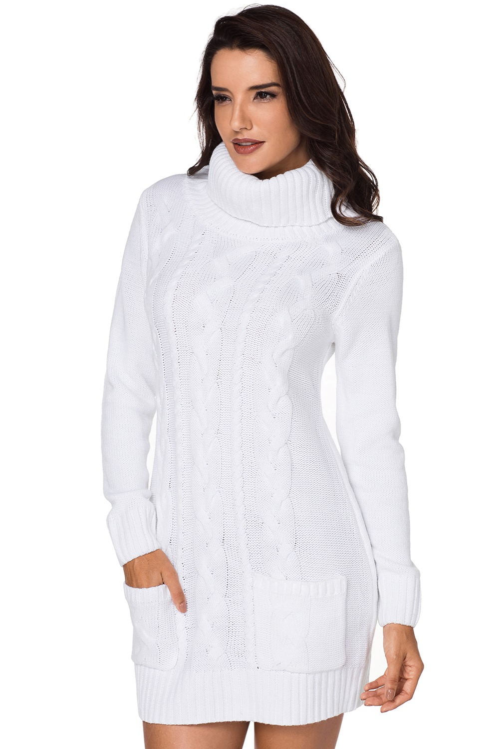 White-Cowl-Neck-Cable-Knit-Sweater-Dress-LC27836-1-3