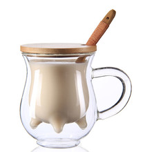 Double Wall Milk/Coffee Cup With Bamboo spoon and Insulated Lid