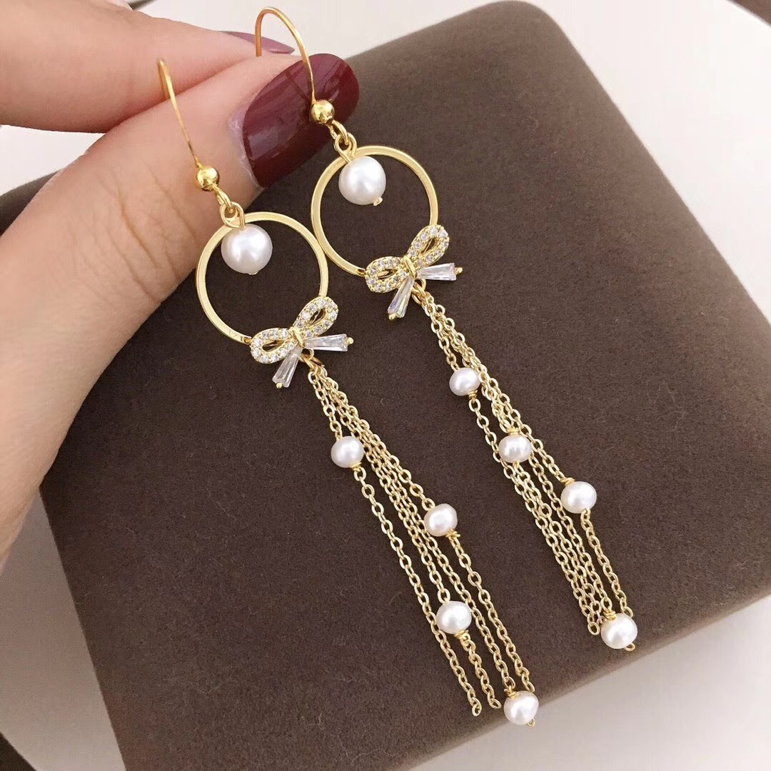 Earring Melting Tassel Gold-Material 14k The No 100-Go-Up Note Reduces Money-Yeam Bowknot