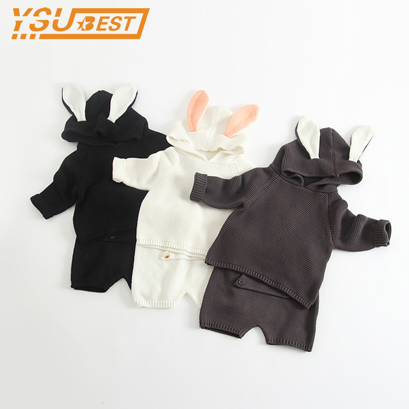 New 2017 Baby Girls Sweater Set Rabbit Ear Sweater Knitted Harem Shorts Spring Autumn 0-3yrs Boys Girls Children Clothing Set db4916 dave bella spring fall baby girls navy striped sweater boys navy star embroidery sweaters stylish sweater