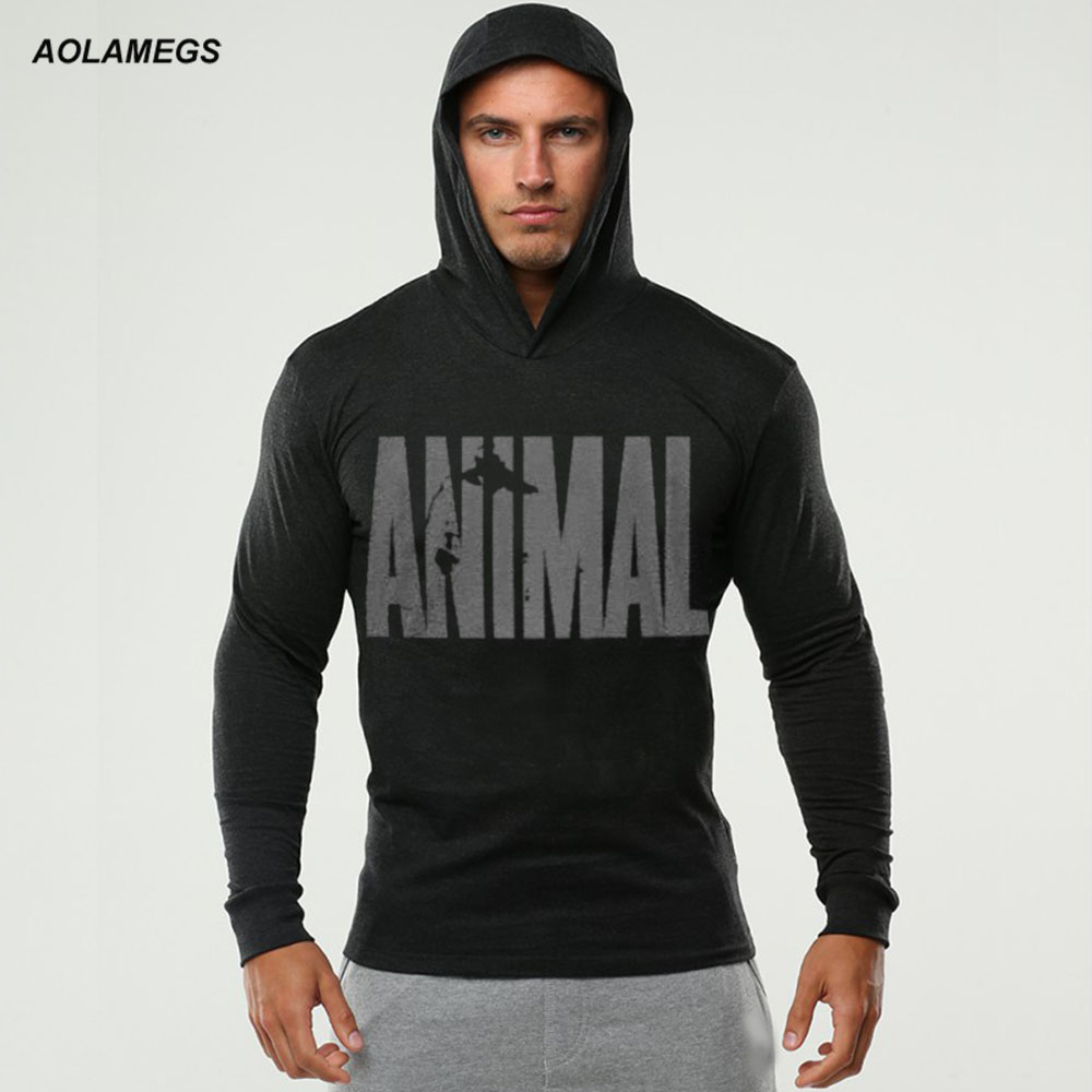 Aolamegs Bodybuilding Hoodies Men Animal Gyms Thin Sweatshirts Long Sleeve Cotton Sportwear Fitness Pullover Muscle Mens Tops