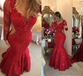 Red Lace Beaded Mermaid Evening Dresses Long 2017 Plus Size Long Sleeve Sheer Back Evening Gown Prom Dress robe de soiree longue