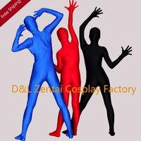 Envío libre de DHL de adultos Lycra Spandex Body negro azul Red Full Body Unitard Zentai LL1004
