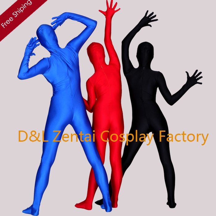 Free Shipping DHL Sexy Adult Lycra Spandex Bodysuit Black Blue Red Full Body Unitard Zentai Suits LL1004