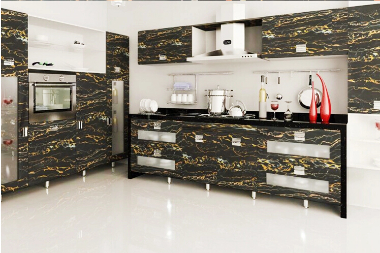 10m Solid PVC Self Adhesive Wallpaper For Kitchen Cabinet Vinyl Wall Paper  Roll Marble Film Furniture Stickers Waterproof Black In Wallpapers From  Home ...