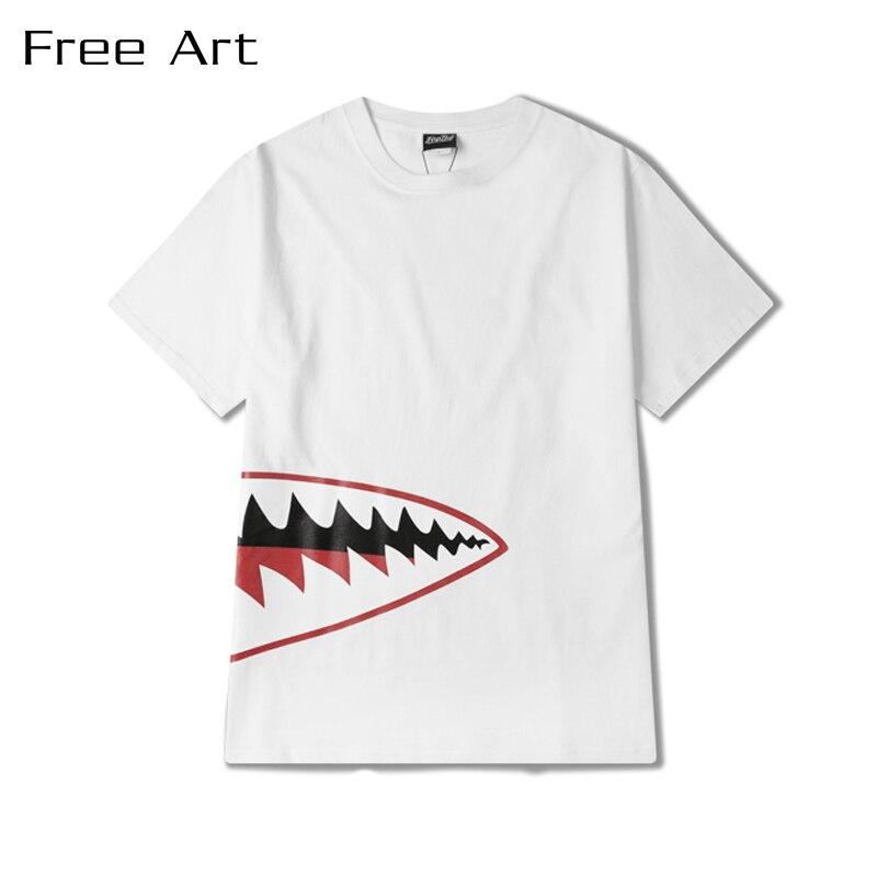 Summer Popular Printing Short Male Half Big Clothing Men O-neck Cotton T Shirt Pokemon Go 2018 New Hot Sale Shark Hip Hop