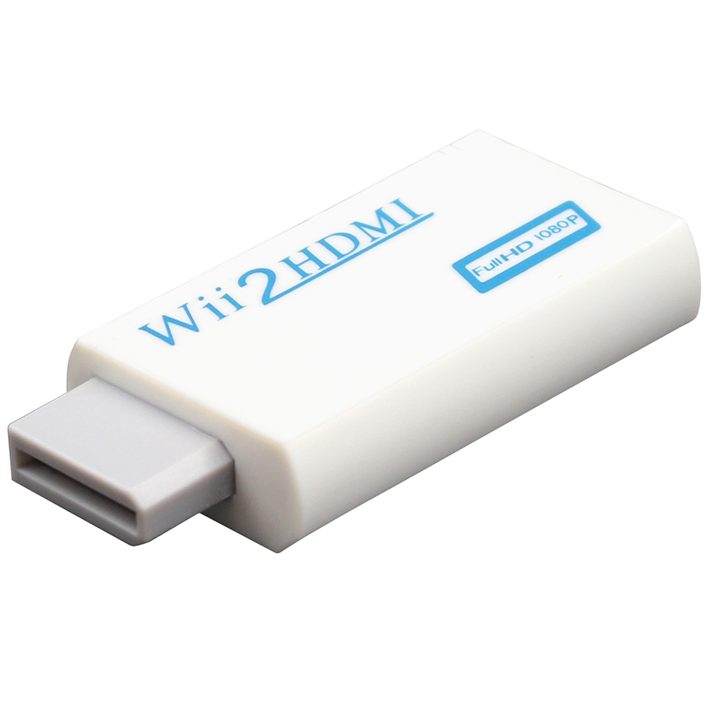 White For Wii to HDMI Wii2HDMI Adapter Converter Full HD 1080P Output Upscaling 3.5mm Audio Video Output