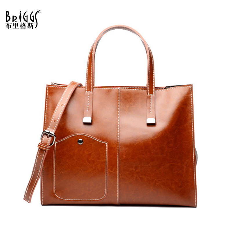 BRIGGS Women Handbag Large Capacity Tote Bag High Quality Genuine Leather Shoulder Bag Female Causal Satchels Messenger Bag genuine leather female handbag autumn bag large size women shoulder bag daily vintage women bag causal bag