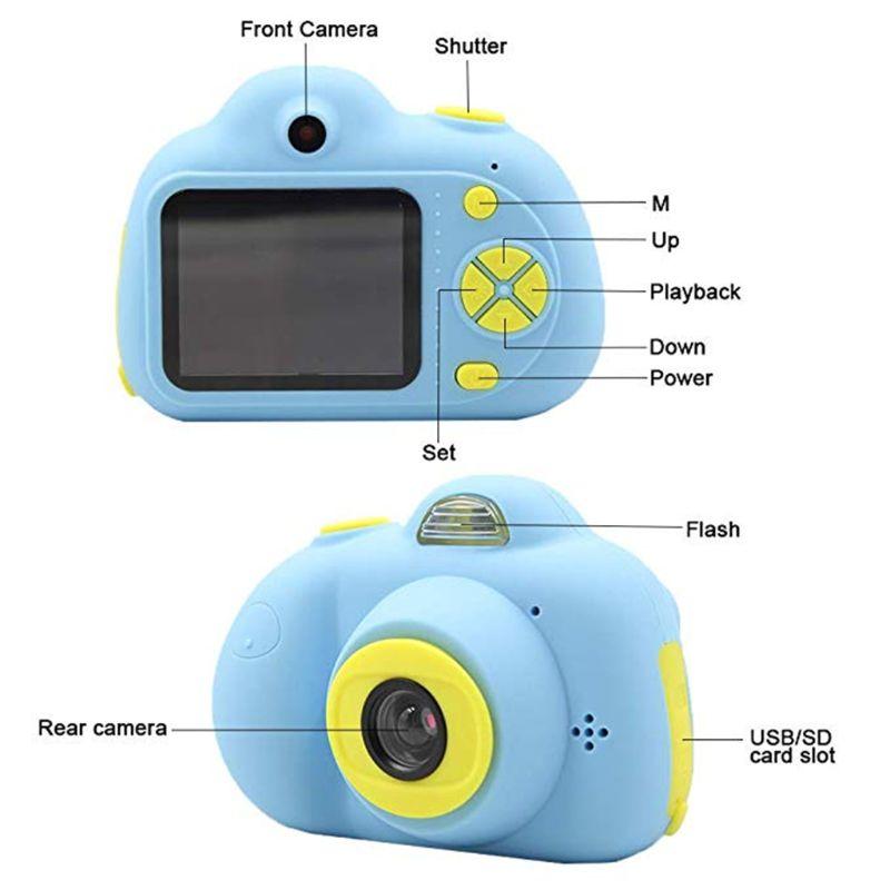 Enfants caméra jouets cadeaux pour 4 ~ 8 ans filles antichoc enfant en bas âge appareil photo et caméscope avec coque en Silicone souple pour le jeu en plein air