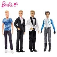 Original Barbie Ken Dolls Sets Boys Suit Casual Wear Plaid T Shirt Pants Prince Fashion Outfits