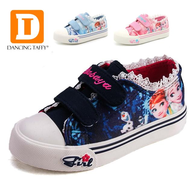 Elsa anna princesa girls shoes for kids fashion kids shoes 2017 Hielo Snow Queen Niños Zapatos de Lona Casuales De Mezclilla de La Muchacha zapatillas de deporte