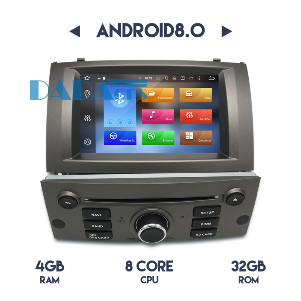 2 DIN Android 8 0 Octa Core Car Stereo DVD Player Vehicle for Peugeot 407 2004