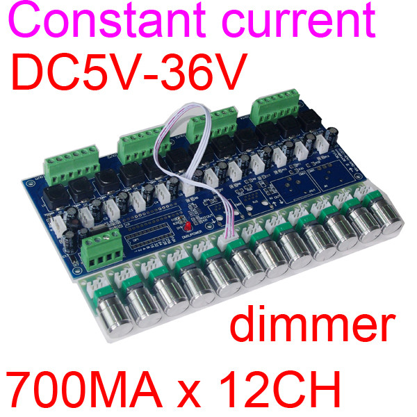 new 1 pcs Constant current DC5V-36V 700MA*12CH led dimmer 700ma constant current 12 channel DMX512 decoder controller