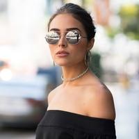 DOLCE VISION 2017 Retro Sunglasses Women Round Mirror Lens Sun Glasses For Women Double-Beam Metal Steampunk Oculos Ladies