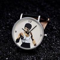 BAOSAILI דמות סין קונג פו הגעה חדשה באיכות גבוהה מותג יוניסקס שעון חיוג שעון רצועת עור אמיתי שחור לאוהבים Bs9043