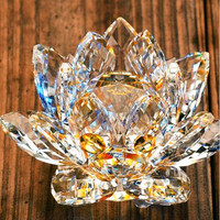 140mm Gold Shiny Crystal Lotus Flower Crafts Natural Stones&Minerals Home Wedding Decor Paperweight Gifts Quartz Figurines