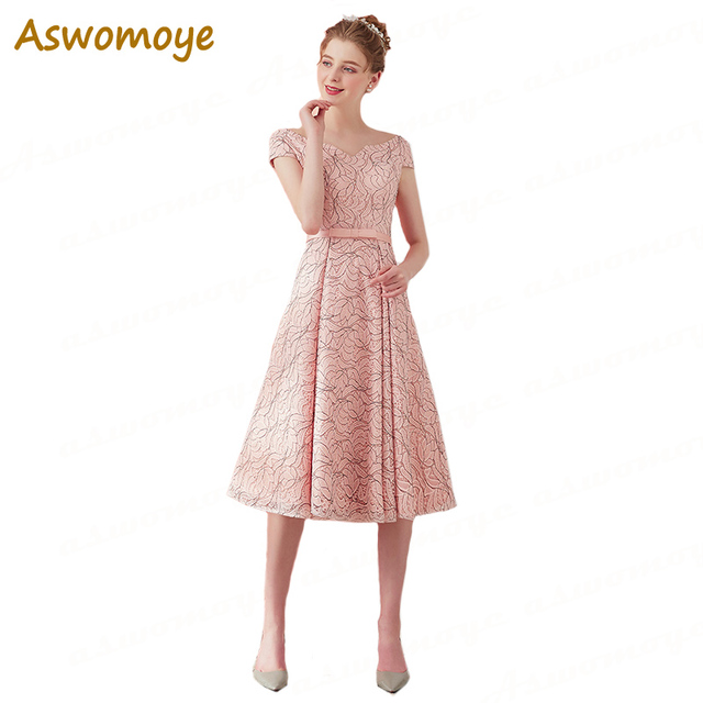 Aswomoye Elegant Short Evening Dress 2018 New Pink Banquet Prom Dresses  Lace Up Back Party Dress V-Neck robe de soiree c71c0f06627d