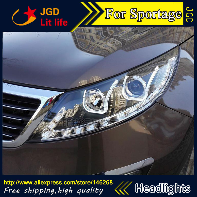 Free shipping ! Car styling LED HID Rio LED headlights Head Lamp case for KIA Sportage 2009 2010 2011 Bi-Xenon Lens low beam free shipping car styling led hid rio led headlights head lamp case for chevrolet camaro bi xenon lens low beam