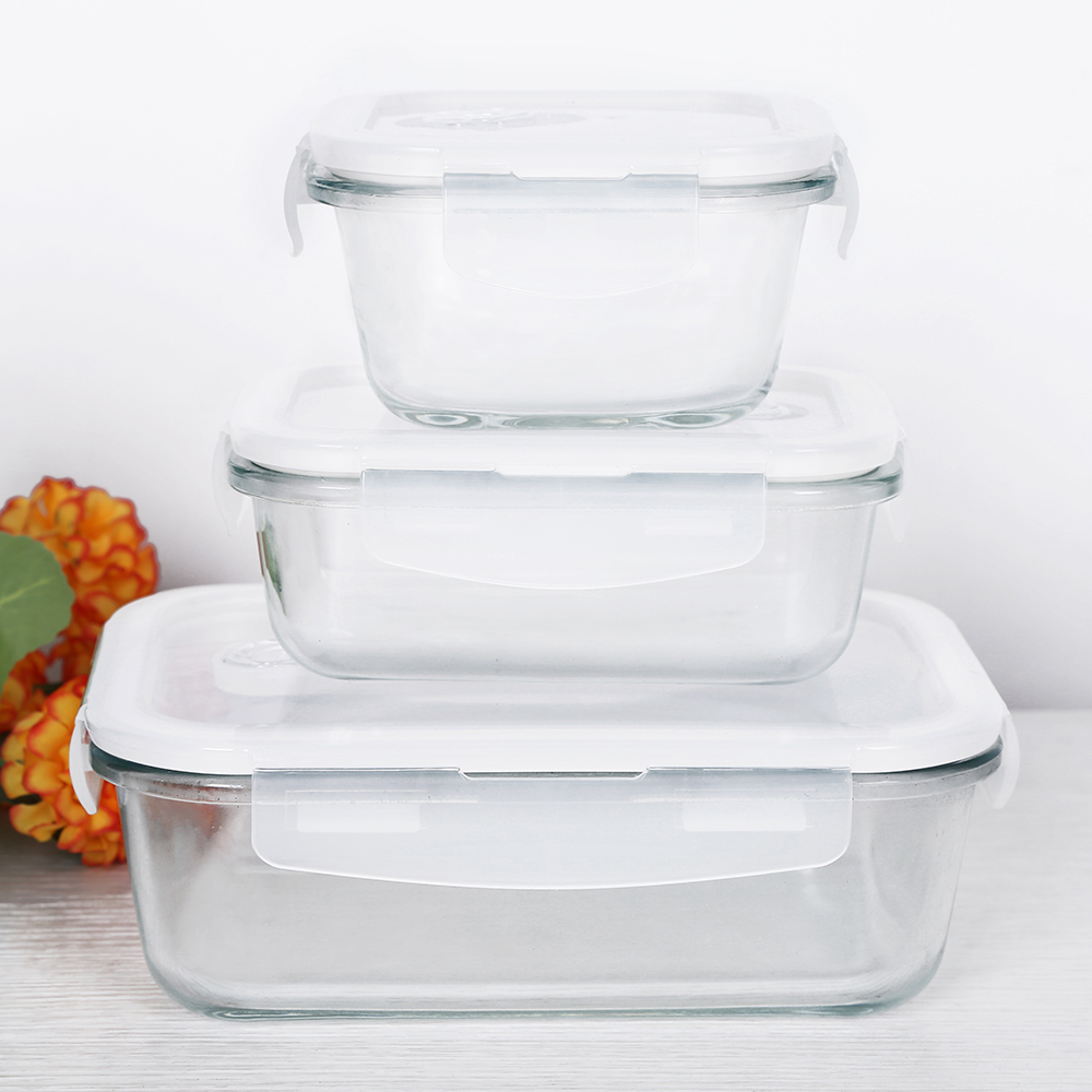 1PCS Glass <font><b>Lunch</b></font> <font><b>Box</b></font> <font><b>Food</b></font> <font><b>Container</b></font> Nontoxic Heat-Resistant Soup Bowl Preservation <font><b>Box</b></font> Microwave Outdoor Picnic Storage Portable image