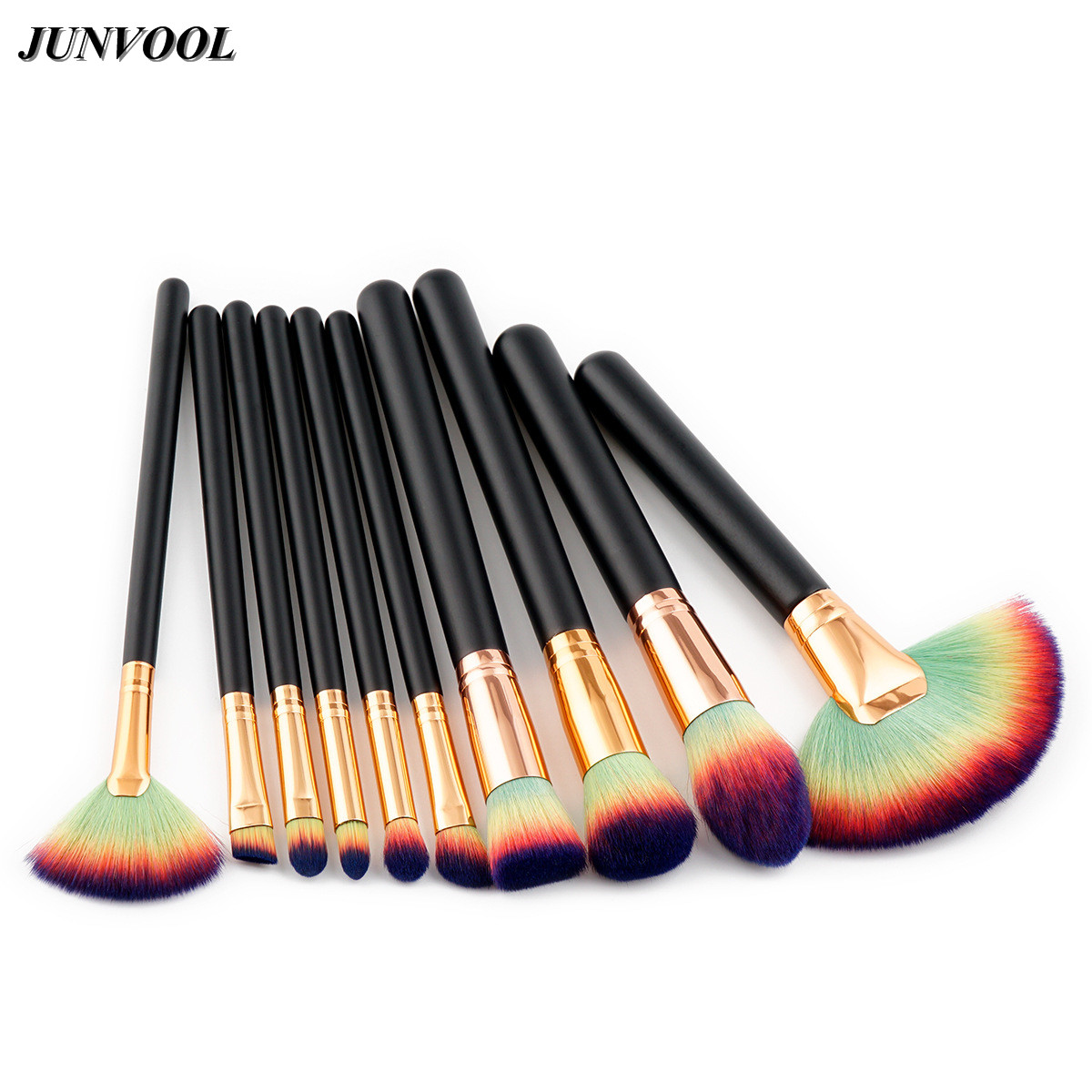Complete Makeup Fan Brush Professional Luxury Set 10Pcs Rainbow Make Up Tools Kit Powder Blending Shadow Cosmetic Beauty Brushes 147 pcs portable professional watch repair tool kit set solid hammer spring bar remover watchmaker tools watch adjustment