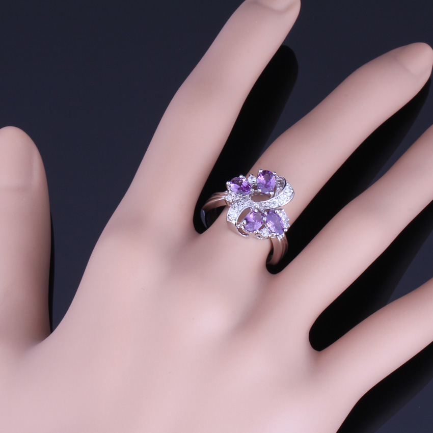 Impressive Plant Purple Cubic Zirconia White CZ 925 Sterling Silver Ring For Women V0142 in Rings from Jewelry Accessories