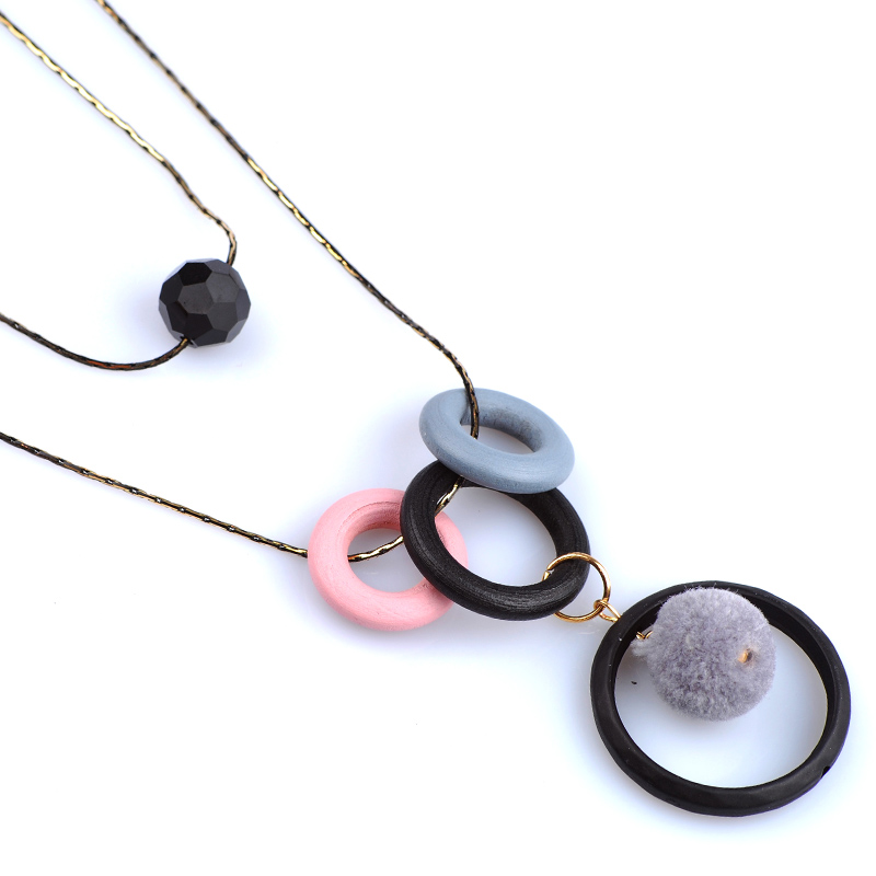 Acrylic Circle Necklace Pendant Double Sweater Chain Long Necklace For Females Unique Design Chic Trendy Korean Turkish Jewelry