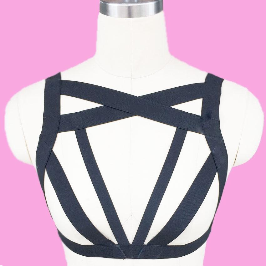 Harajuku Caged Body Harness Bra Sexy Bondage Lingerie Black Gothic Adult Club Erotic Rebel Pole Dance Harness Handmade Harness