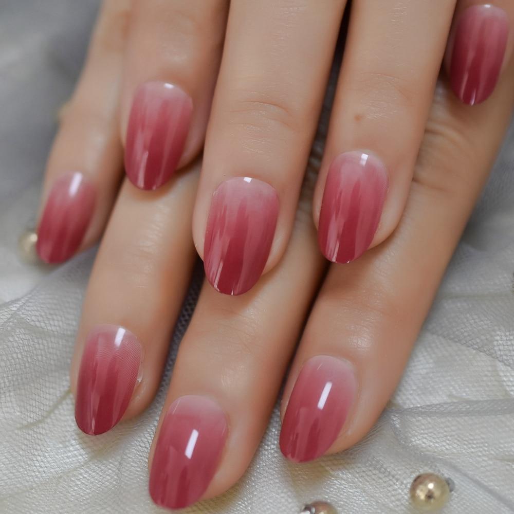 LightCoral Ombre Artificial False Nails Sleek UV Gel ...