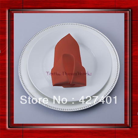 High Quality 45x45cm Terracotta Polyester Plain Napkin / Table Napkin / Hotel Napkin / Dinner Napkin (Factory Direct Sale)