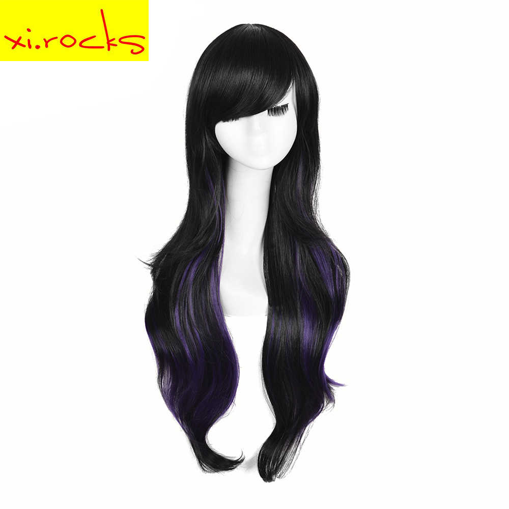 3034 Xi.Rocks Cosplay Long Synthetic Hair Ombre Wig For Black/White Women Party Wigs High Temperature Fiber Wigs