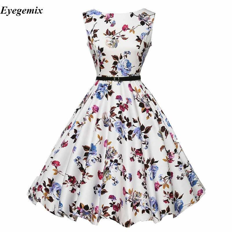 fd5a61f7dc6d Audrey Hepburn Retro Summer Dress Women Vintage 50s 60s Floral Print  Sleeveless Rockabilly Swing Party Dresses