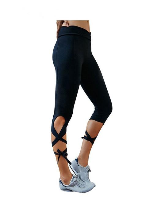 2017 New Fashion Style Women Leggings Cross High Waist Inspired Ballet Danceing Leggings Fitness Bandage Cropped Pants P0660