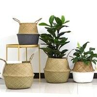 Cestas de armazenamento artesanais dobrável seagrass cesta de lavanderia rattan vaso de flores plantador cesta de palha organizador casa decoração