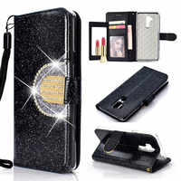 KEFO Bling Glitter Wallet Case For LG G7 Diamond Flip Mirror Cover For LG Stylo 4 / K8 2018 / K10 2018 Card Holder Coque Capa
