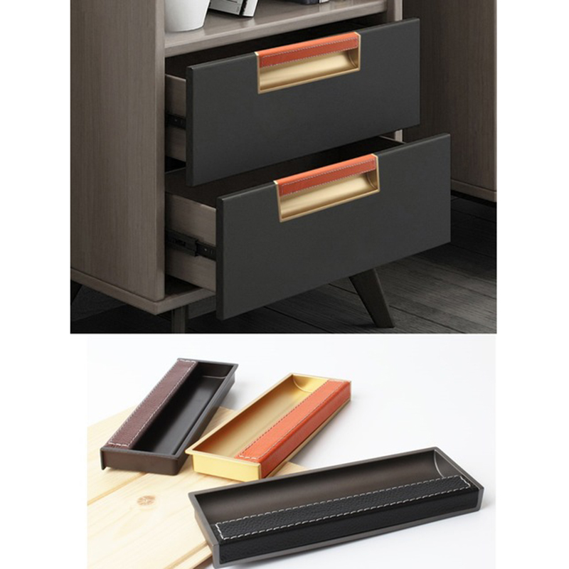 2Pcs/Lot Gold Black Grey Leather Zinc Square recessed flush pull furniture cabinet cupboard closet drawer pull