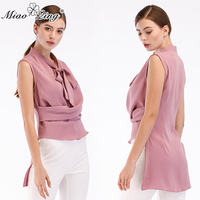 MIAOQING Summer For women 2018 V neck Women Chiffon Shirt Tops Solid Color Temperament Lace Up Sleeveless Strapless blouses