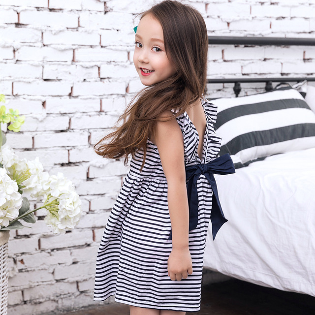 e3414012875f Baby Girls Dress Summer 2018 Baby Girls Backless Dress Stripes Black and  White with Bow Baby Dressing for Party Beach Kids Cute