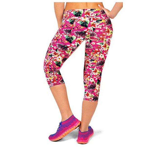 3886962f6c994f Hot Sale New Plus Size Women's High Waist Printed Pink Flower Capris Workout  Fitness Leggings High Elastic Mid Calf Pants #08