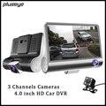 1080P Full HD Car DVR 3 Channels Cameras Recorder 4.0 inch Dash Camera Night Vision Car Video Recorder Dual Lens Camcorder