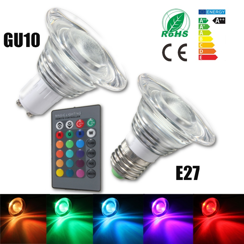 3W RGB LED Light Bulb E27 GU10 Energy Saving Color Changing Magic Lamp Spotlight Bulb With 24 Keys Remote Control AC85-265V 1pcs e27 t80 led energy saving lamp light bulb velas led decorativas home lighting decoration 40w ac85 265v led lamp