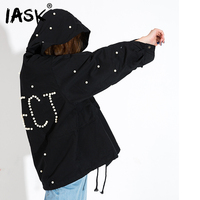 IASK 2018 Spring New Korean Beading Letter Zipper Fashion Women S Clothes Hooded Windbreaker Loose